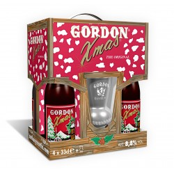 Estuche Gordon Xmas 4*33Cl + Vaso Gordon 33cl